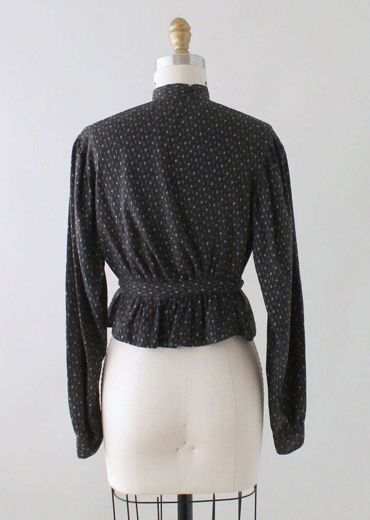 Antique Victorian Black and White Calico Cotton Blouse