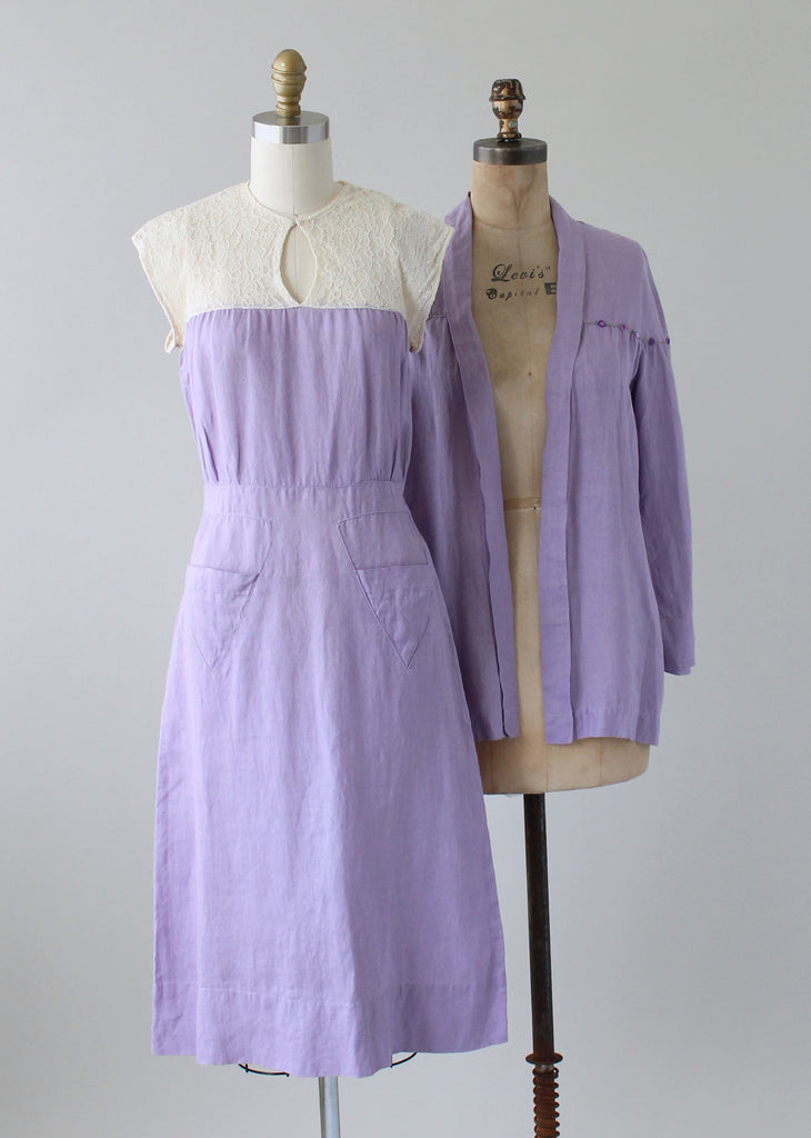 Vintage 1930s Lavender Linen and Lace Dress and Jacket