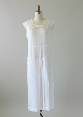 Vintage 1930s White and Yellow Linen Summer Dress