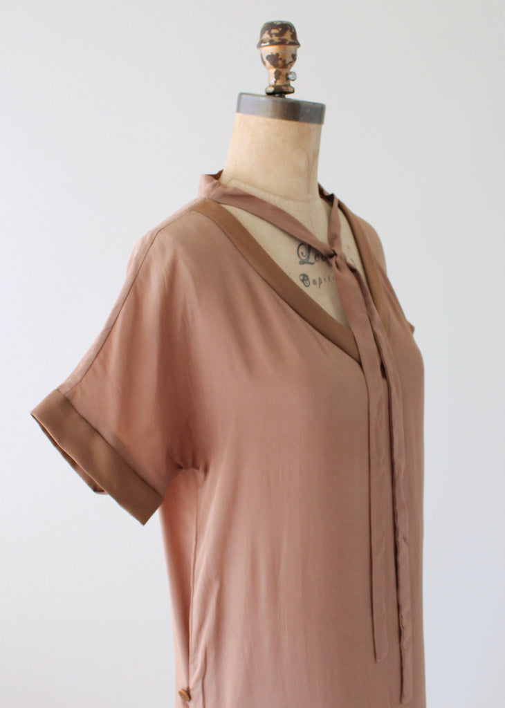 Vintage 1920s Brown Silk Day Dress with Duster Coat
