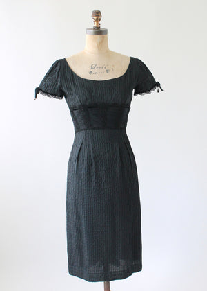 Vintage 1950s Silk Little Black Cocktail Dress