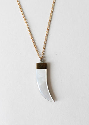 Vintage 1970s Bear Claw Pocket Knife Necklace