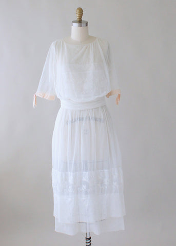 Vintage 1910s Edwardian Embroidered Mesh Wedding Dress
