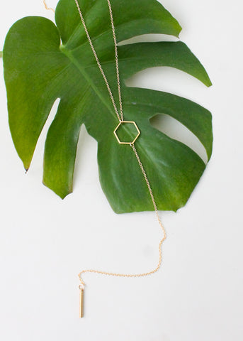 Hexagon Lariat Necklace