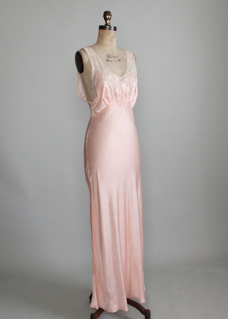 Vintage 1940s Pink Rayon and Lace Shirred Front Gown
