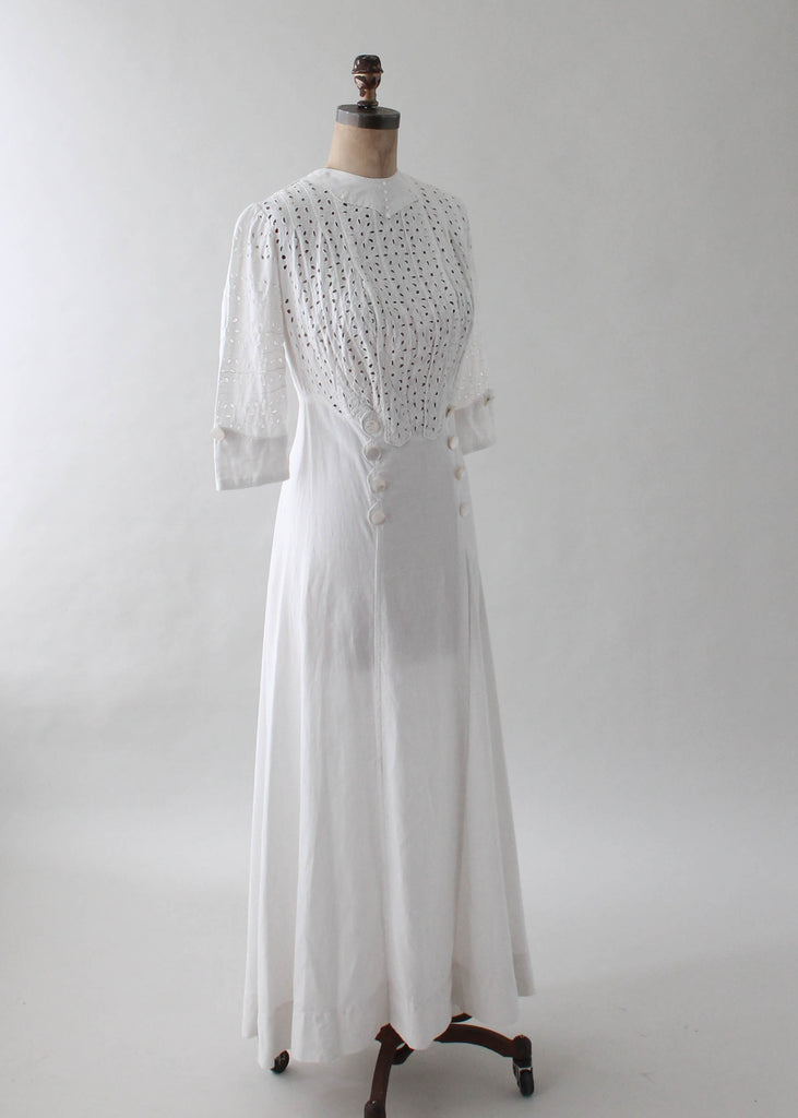Antique 1910s Edwardian Cotton Lawn Dress