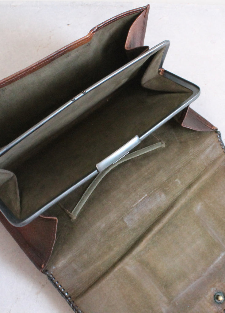 Vintage 1910s Arts and Crafts Embossed Leather Clutch