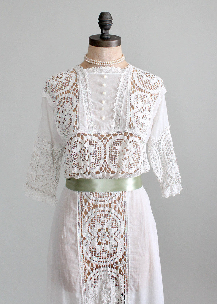 Antique 1910s Crocheted Lace and Cotton Lawn Dress