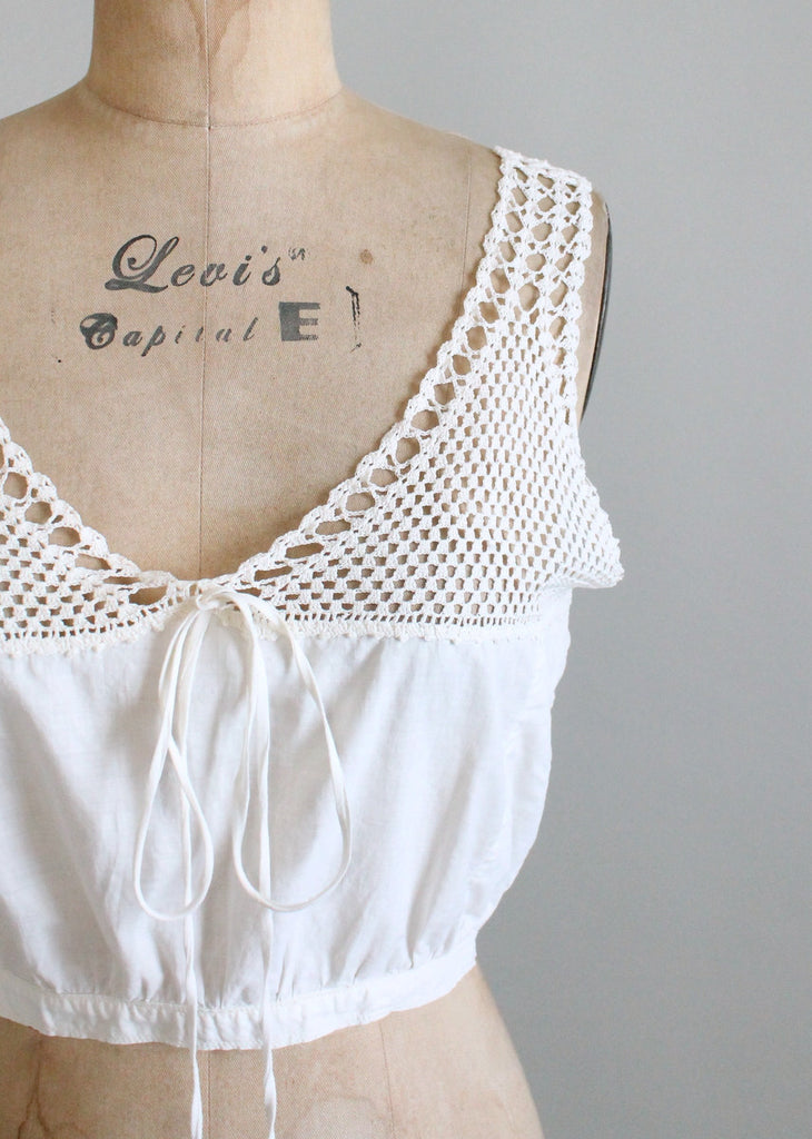 Vintage 1910s Edwardian White Crochet and Cotton Tank