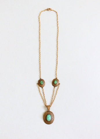 Antique 1910s Brass and Green Glass Necklace
