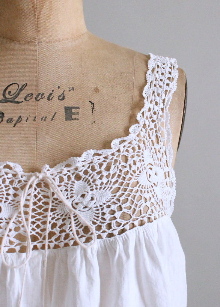 Vintage Edwardian Cotton and Crochet Fitted Waist Corset Cover