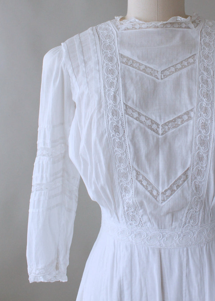 ab867748f4 Edwardian 1910s Cotton and Lace Lawn Dress   Raleigh Vintage