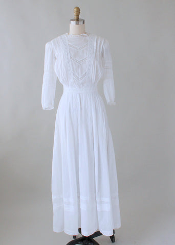 Edwardian 1910s Cotton and Lace Lawn Dress