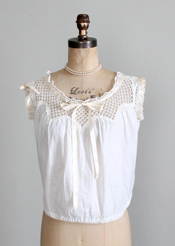 Antique 1910s Edwardian Cotton and Crochet Top