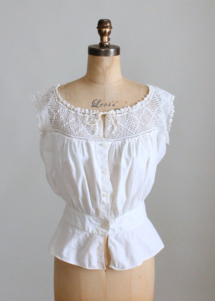 Vintage 1910s Crochet and Cotton Nipped Waist Camisole