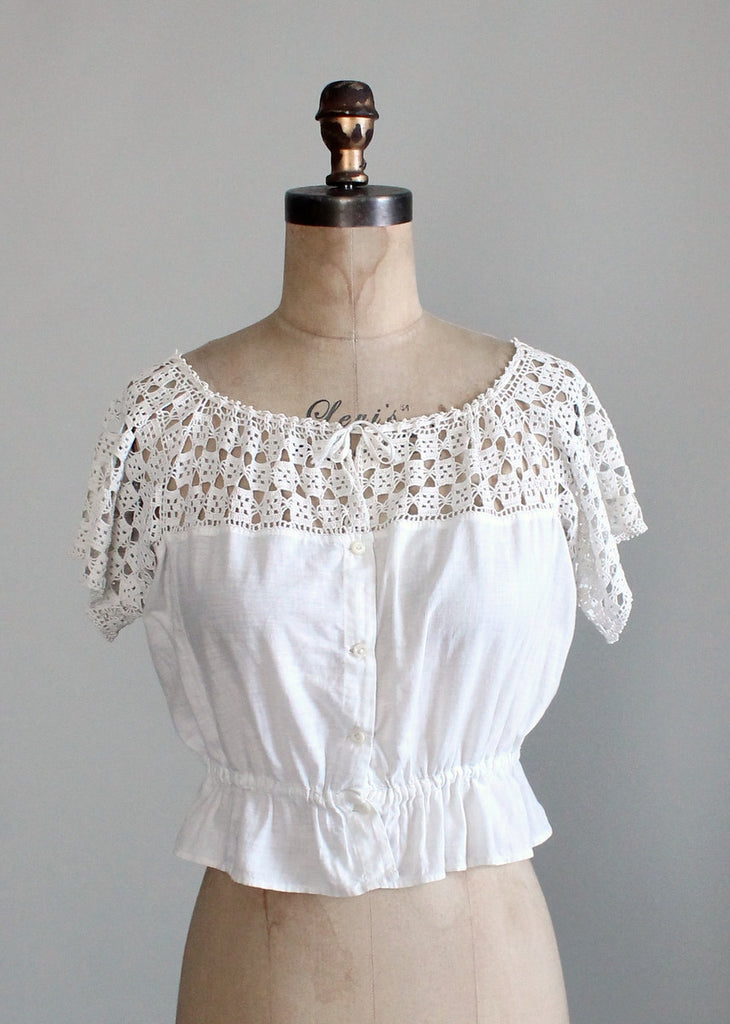 Antique 1910s Crochet and Cotton Button Front Top