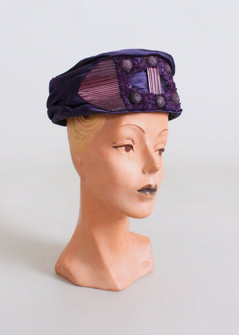 Vintage 1910s Edwardian Purple High Style Hat