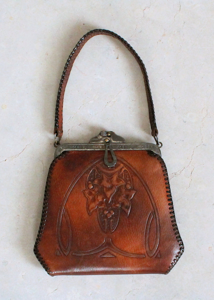 Vintage 1910s Jemco Art Nouveau Tooled Leather Purse