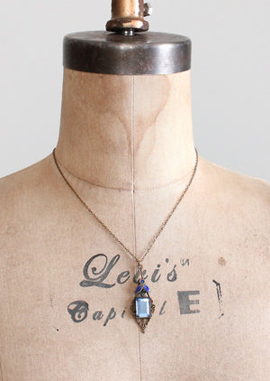 Vintage Early 1920s Blue Glass and Enemal Lavalier Necklace