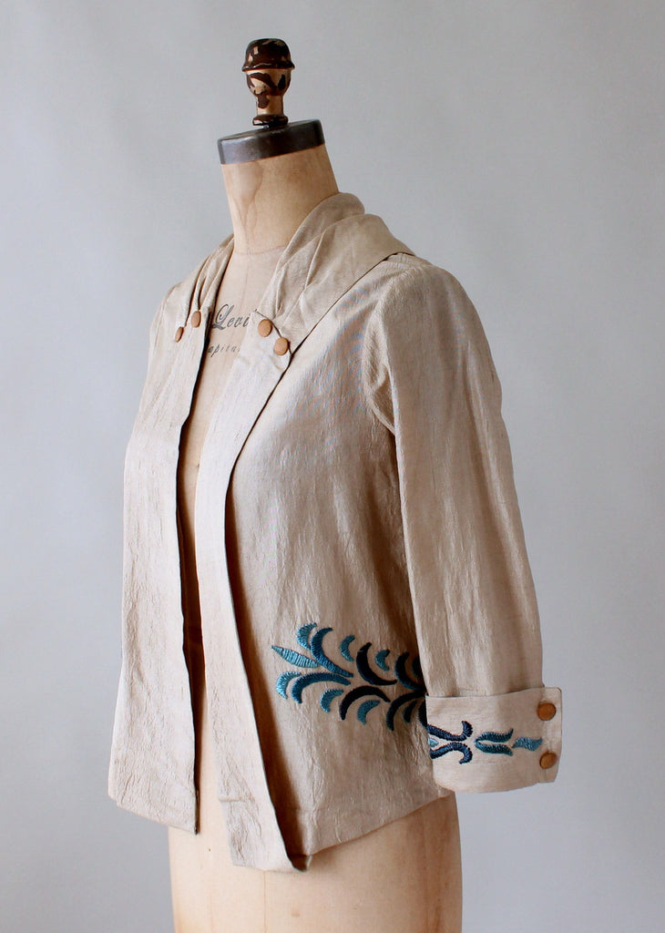 Vintage 1910s Embroidered Raw Silk Jacket