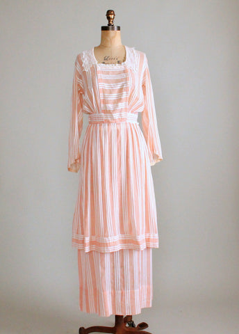 Antique 1910s Peach Striped Cotton Blouse and Bustle Skirt Dress