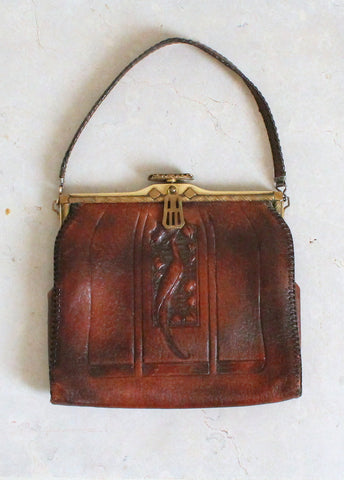 Vintage 1910s Peacock Tooled Leather Purse