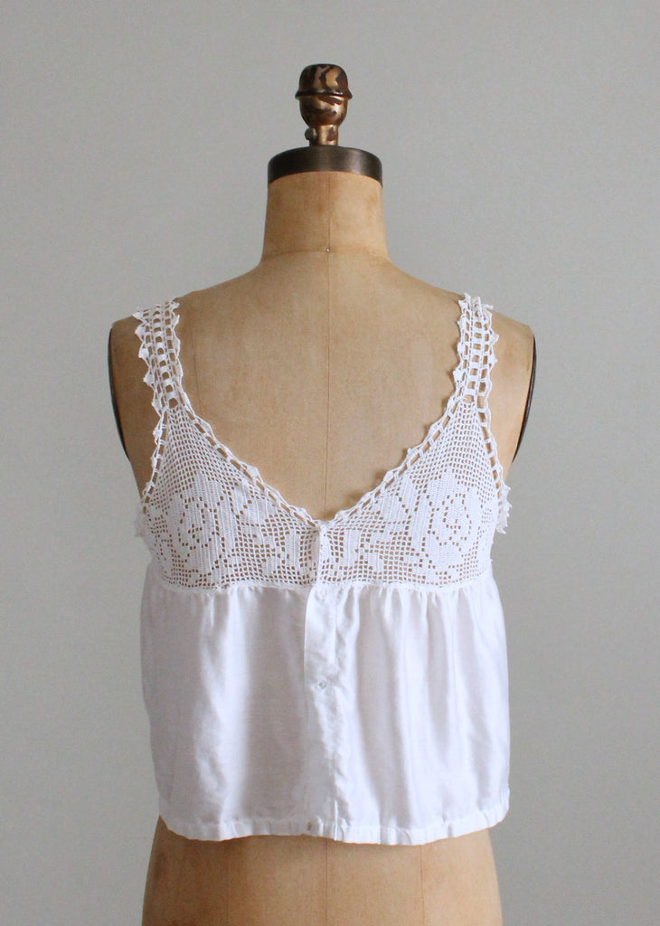 Vintage 1910s Crocheted Roses and Cotton Camisole Tank Top
