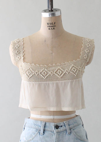 Antique 1910s Silk and Crochet Tank Blouse