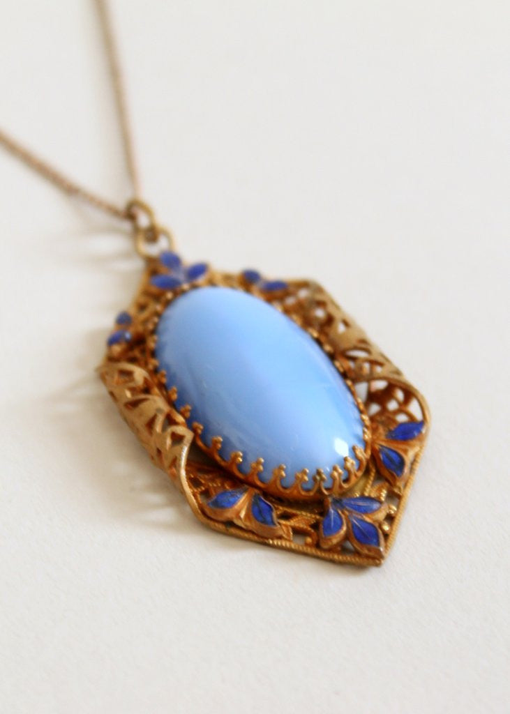 Vintage 1930s Art Deco Blue Sargasso Sea Necklace
