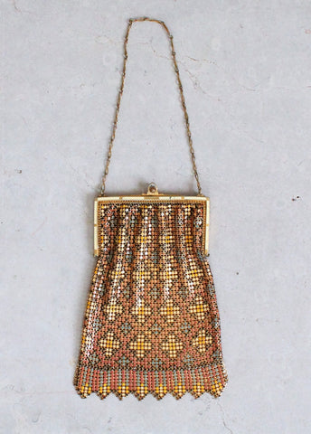 Vintage 1920s Art Deco Golden Painted Mesh Flapper Purse