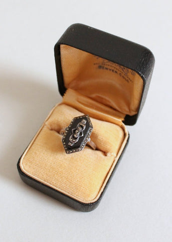 Vintage 1920s Art Deco Black Marcasite Cocktail Ring