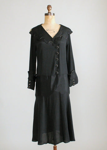 Vintage 1920s Black Silk Winter Dress with Deco Details