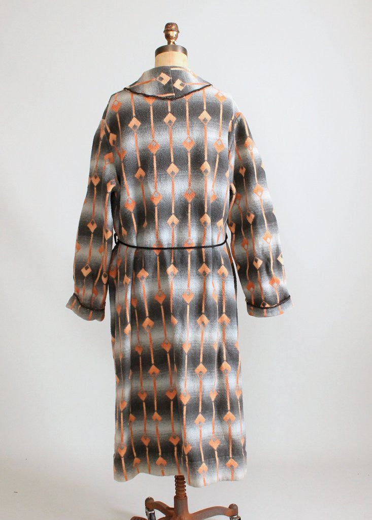 Vintage 1920s Art Deco Wool Blanket Robe