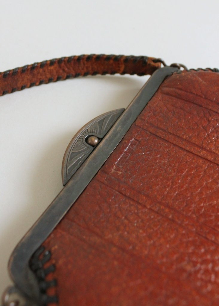 Vintage 1920s Arts and Crafts Tooled Leather Purse