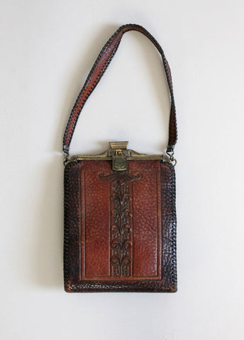 Vintage 1910s Amity Tooled Leather Purse