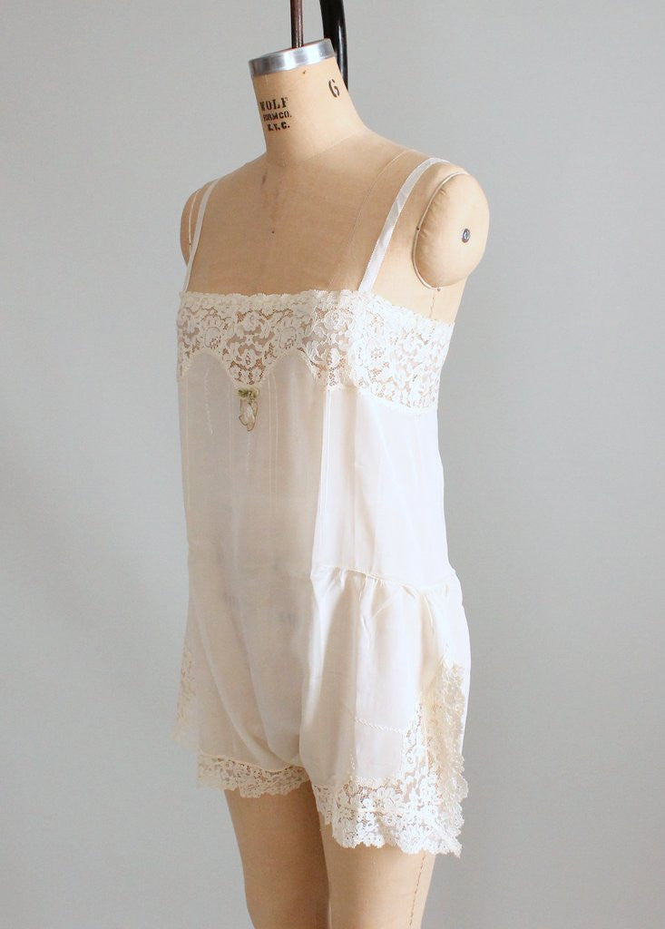 Vintage 1920s Silk and Lace Betty Jane Onesie NOS