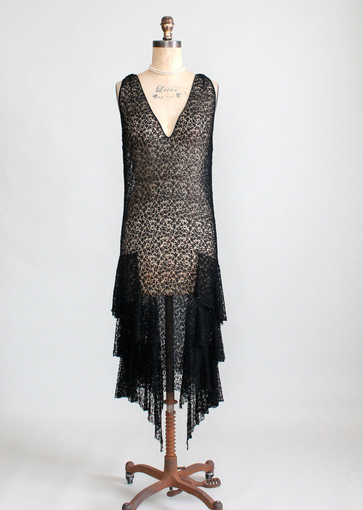 Vintage 1920s Black Lace Flapper Dress