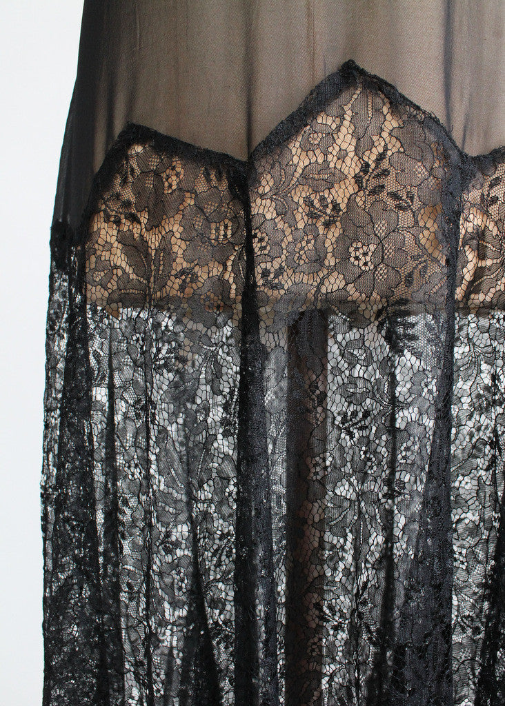 Vintage 1920s Black Lace and Chiffon Flapper Dress & Jacket