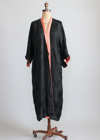 Vintage 1920s Black Floral Silk Robe with Coral Trim