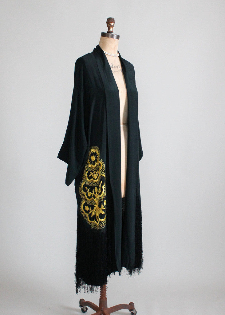 1920s Silk Robe with Fringe