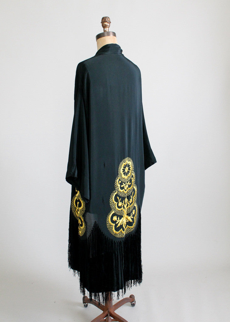 1920s Black Silk Fringed Robe