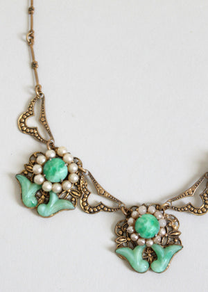 Vintage Late 1920s Jade Glass and Pearl Necklace