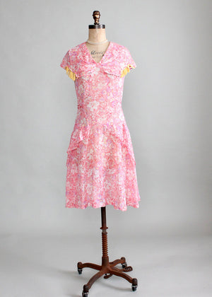 Vintage Early 1930s Bright Floral Cotton Day Dress