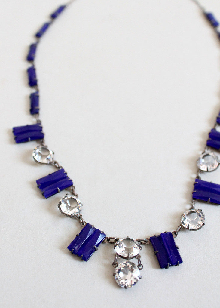 Vintage 1920s Cobalt Glass and Rhinestone Necklace