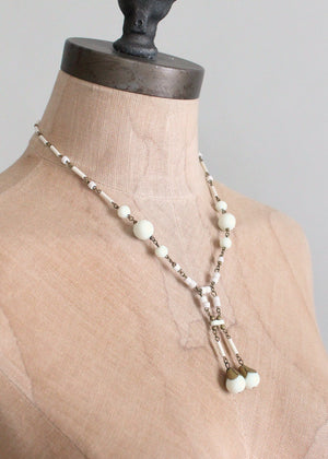 Vintage 1920s White Glass Bead and Brass Dangle Necklace