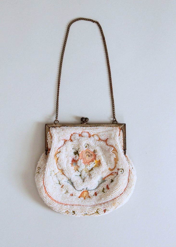 Vintage 1920s French Micro Bead and Crewel Purse