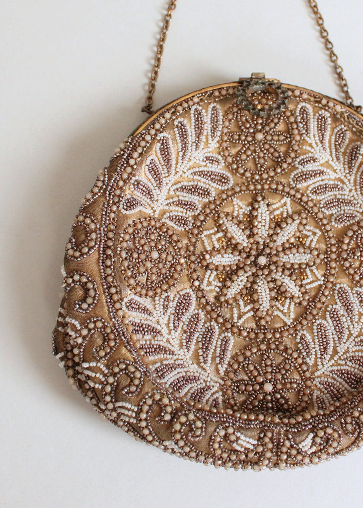 Vintage 1920s French Beaded Round Purse