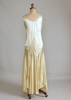 Vintage 1920s Golden Liquid Satin Flapper Evening Dress