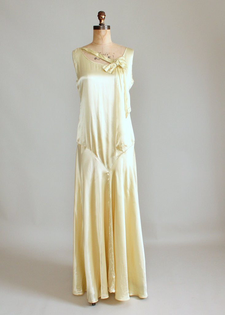 Vintage 1920s Golden Liquid Satin Flapper Evening Dress | Raleigh ...