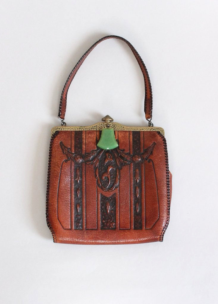Vintage 1920s Meeker Tooled Leather Purse with Celuloid Clasp